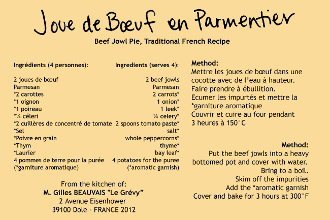 Joue de Boeuf Recipe Card